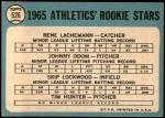 1965 Topps #526   -  Catfish Hunter / Blue Moon Odom / Skip Lockwood / Rene Lachemann Athletics Rookies Back Thumbnail