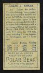 1911 T205  Joe Tinker  Back Thumbnail