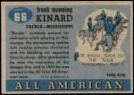 1955 Topps #66  Bruiser Kinard  Back Thumbnail