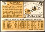 1963 Topps #351  Al Luplow  Back Thumbnail