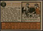 1962 Topps #246  Art Ditmar  Back Thumbnail