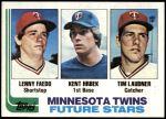 1982 Topps #766   -  Tim Laudner / Lenny Faedo / Kent Hrbek Twins Rookies Front Thumbnail