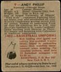 1948 Bowman #9  Andy Phillip  Back Thumbnail