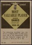 1961 Topps #485   -  Ernie Banks Most Valuable Player Back Thumbnail