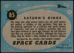 1957 Topps Space #85   Saturn's Rings  Back Thumbnail