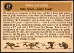 1960 Topps #57   -  Turk Lown / Jerry Staley Win-Savers Back Thumbnail