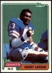 1981 Topps #475  Harry Carson  Front Thumbnail