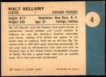 1961 Fleer #4  Walt Bellamy  Back Thumbnail