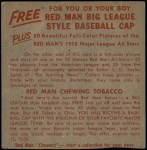 1955 Red Man #7 AL x Jim Hegan  Back Thumbnail