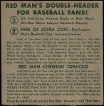 1952 Red Man #25 AL x Eddie Yost  Back Thumbnail
