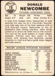 1960 Leaf #19  Don Newcombe  Back Thumbnail