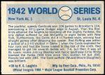 1970 Fleer World Series #39   1942 Cardinals vs. Yankees Back Thumbnail