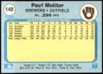 1982 Fleer #148  Paul Molitor  Back Thumbnail