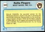 1982 Fleer #644   -  Rollie Fingers Most Saves Back Thumbnail