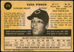 1971 O-Pee-Chee #275  Vada Pinson  Back Thumbnail