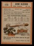 1962 Topps #173  Jim Kerr  Back Thumbnail