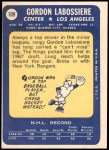1969 Topps #109  Gord Labossiere  Back Thumbnail