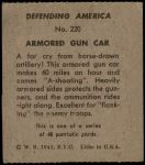 1941 W.S. Corp Defending America #220   Armored Gun Car Back Thumbnail
