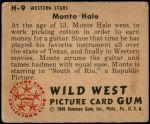 1949 Bowman Wild West #9 H Monte Hale  Back Thumbnail