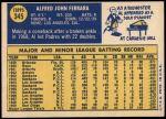 1970 Topps #345  Al Ferrara  Back Thumbnail