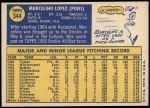 1970 Topps #344  Marcelino Lopez  Back Thumbnail
