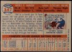 1957 Topps #347  Hal Naragon  Back Thumbnail