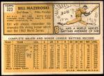 1963 Topps #323  Bill Mazeroski  Back Thumbnail
