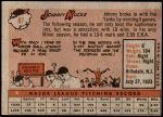 1958 Topps #87  Johnny Kucks  Back Thumbnail
