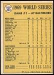 1970 Topps #305   -  Don Buford 1969 World Series - Game #1 - Buford Belts Leadoff Homer Back Thumbnail