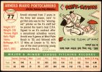 1955 Topps #77  Arnie Portocarrero  Back Thumbnail