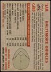 1956 Topps #100 LFT  Orioles Team Back Thumbnail