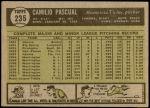 1961 Topps #235  Camilo Pascual  Back Thumbnail