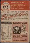 1953 Topps #175  Ron Kline  Back Thumbnail