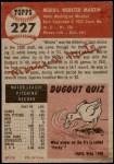 1953 Topps #227  Morris Martin  Back Thumbnail