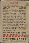 1951 Bowman #217  Joe Page  Back Thumbnail