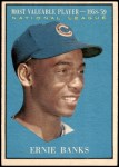 1961 Topps #485   -  Ernie Banks Most Valuable Player Front Thumbnail