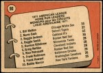 1972 O-Pee-Chee #90   -  Reggie Jackson / Norm Cash / Bill Melton AL HR Leaders  Back Thumbnail
