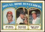 1972 O-Pee-Chee #90   -  Reggie Jackson / Norm Cash / Bill Melton AL HR Leaders  Front Thumbnail