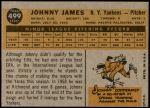 1960 Topps #499  Johnny James  Back Thumbnail