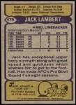 1979 Topps #475  Jack Lambert  Back Thumbnail