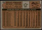 1972 Topps #550  Brooks Robinson  Back Thumbnail
