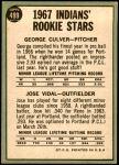 1967 Topps #499   -  George Culver / Jose Vidal Indians Rookies Back Thumbnail