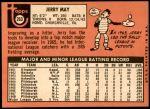 1969 Topps #263  Jerry May  Back Thumbnail