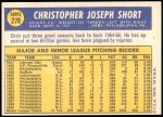 1970 Topps #270  Chris Short  Back Thumbnail