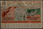 1956 Topps #135 GRY Mickey Mantle  Back Thumbnail