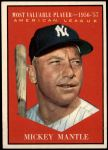 1961 Topps #475   -  Mickey Mantle Most Valuable Player Front Thumbnail