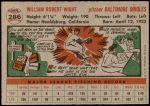 1956 Topps #286  Bill Wight  Back Thumbnail