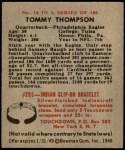 1948 Bowman #16  Tom Thompson  Back Thumbnail