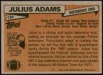 1981 Topps #139  Julius Adams  Back Thumbnail