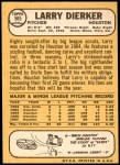 1968 Topps #565  Larry Dierker  Back Thumbnail